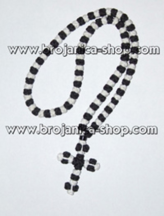 O101 Ogrlica pletena crno - bela