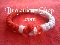 Brojanica pletena crveno - bela sa perlama