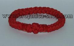 Brojanica pletena crvena sa perlama