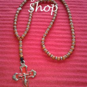 Ogrlica od drvenih perli sa šajbnicama