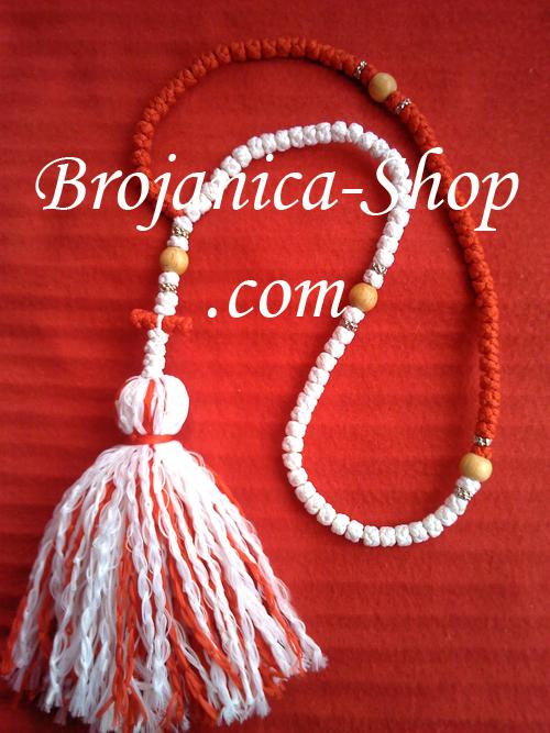 Ogrlica crveno-bela sa kićankom