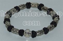 Brojanica pletena crna sa metalnim perlama