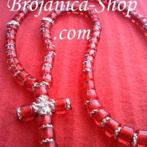 Ogrlica od crvenih perli sa srebrnim šajbnicama