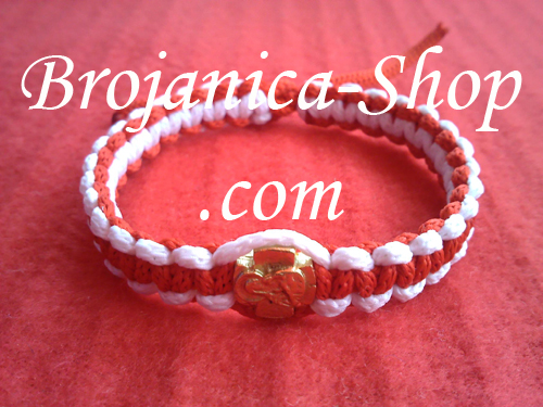 Narukvica pletena crveno-bela