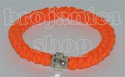 Brojanica pletena narandžasta sa krstićem