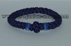 Brojanica pletena plava sa plavim perlama