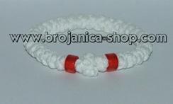 Brojanica pletena bela sa crvenim perlama