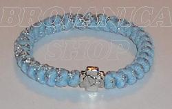 Brojanica pletena plavo - srebrna sa krstićem