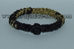 Brojanica pletena crno - zlatna sa perlama