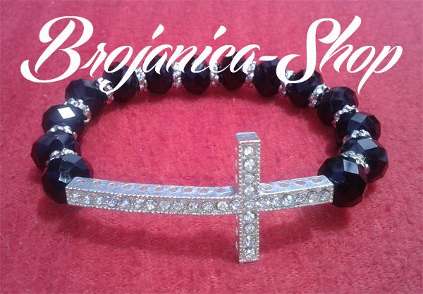 Brojanica kristalna crna sa velikim belim krstom sa cirkonima