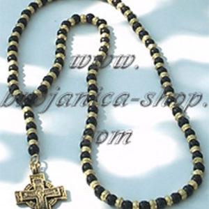 O344 Ogrlica biserna crna sa metalnim perlama