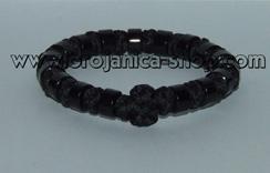 Brojanica pletena crna sa crnim perlama