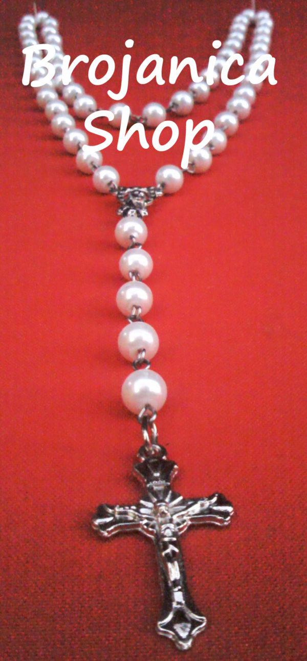 Ogrlica biserna bela sa prohromskom žicom