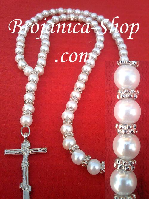 Ogrlica biserna bela sa srebrnim šajbnicama