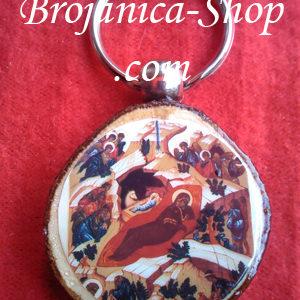 Privezak suvenir drveni sa slikom Rođenja Hristovog – Božić