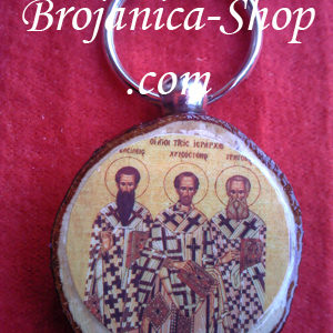 Privezak suvenir drveni sa slikom Sveta Tri Jerarha