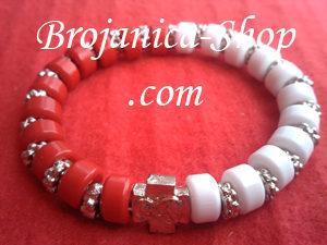 Brojanica od perli crveno-bela