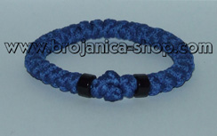 Brojanica pletena plava sa crnim perlama