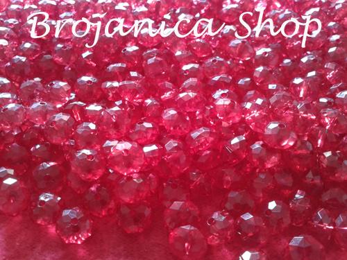 Perle za Brojanice u obliku kristala crvene boje