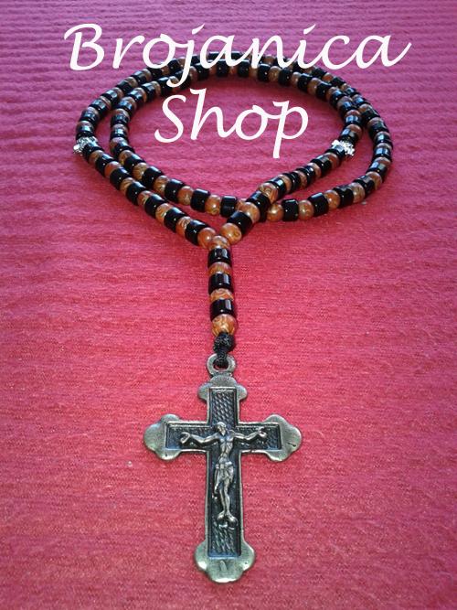 Ogrlica od drvenih i crnih perli