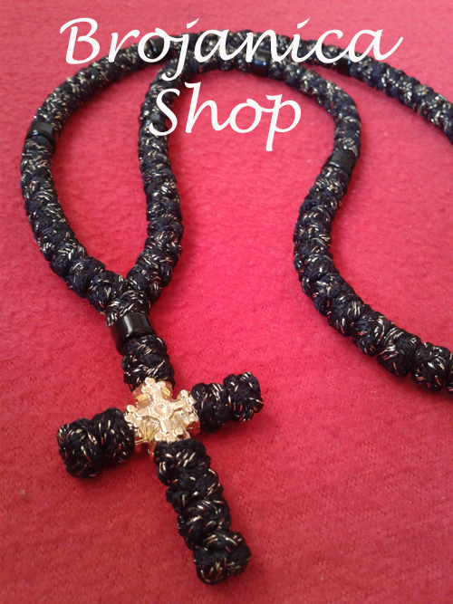 Ogrlica pletena crna propletena srmom
