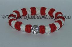 Brojanica pletena crveno - bela sa krstićem