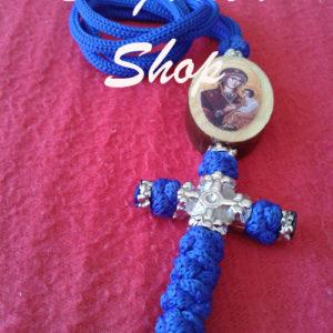 Krst pleteni plavi sa medaljonom