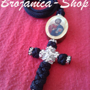 Krst pleteni crni sa medaljonom