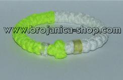Brojanica pletena žuto - bela sa perlama