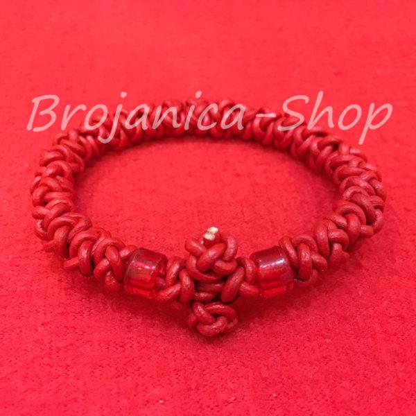 B676 Brojanica ispletena od prirodne kože u crvenoj boji