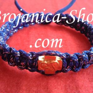 Narukvica pletena plava sa srmom