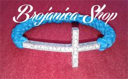 Brojanica pletena plava sa krstom sa cirkonima