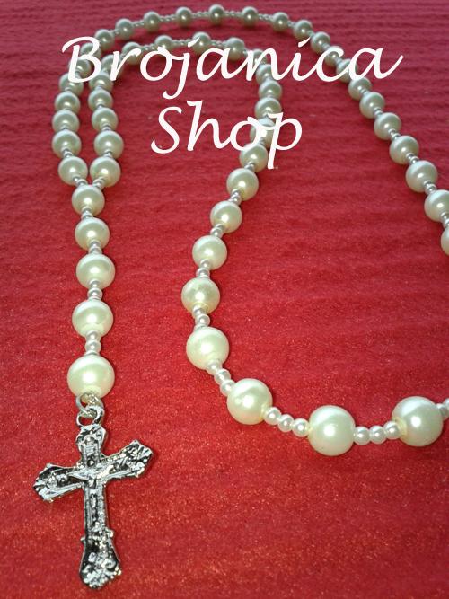 o069 Ogrlica biserna bela sa razdvojenim perlama