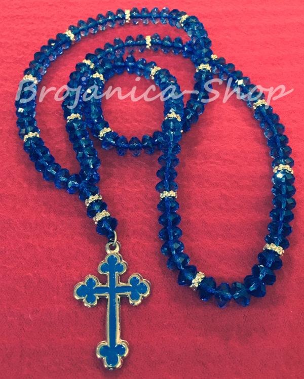 O652 Ogrlica kristalna plava