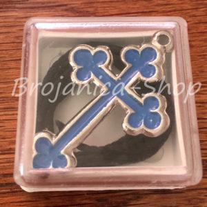 K659 Krst metalni plavi u kutijici