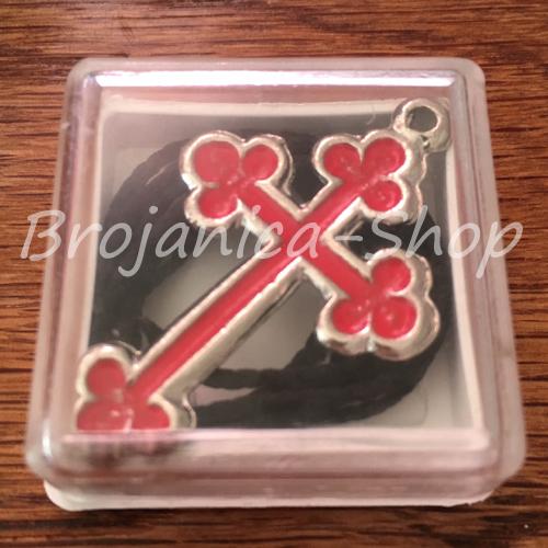 K661 Krst metalni crveni u kutijici