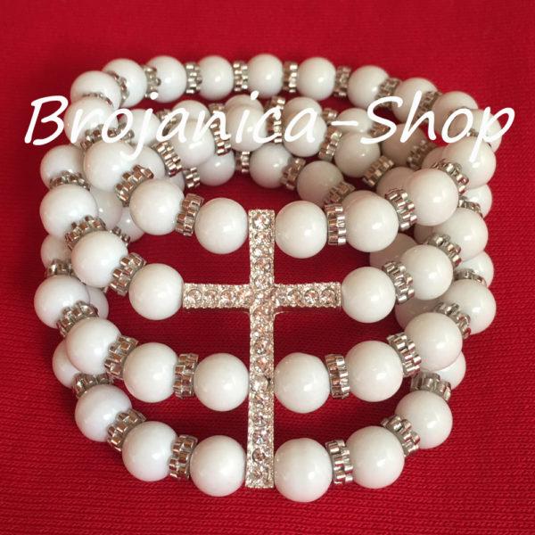 B156 Brojanica biserna bela četvororedna