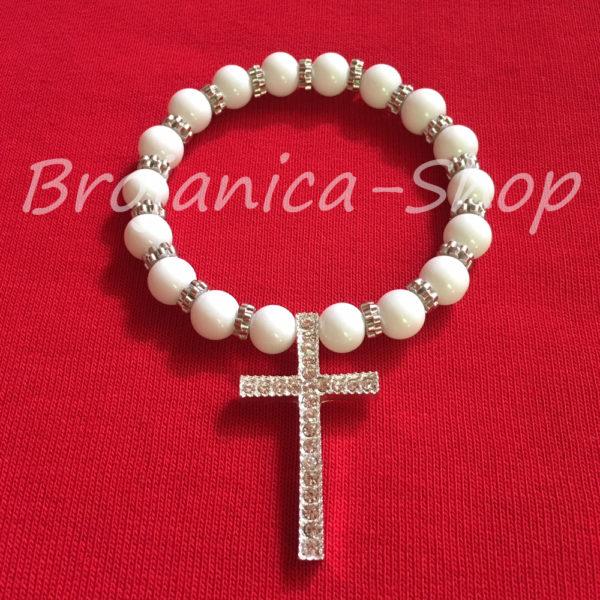 B670 Brojanica biserna bela sa velikim krstom