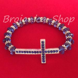 B671 Brojanica kristalna plava sa velikim krstom