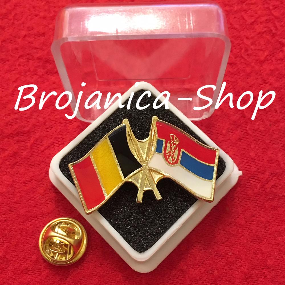 692 Značka zastave Srbija – Belgija u kutijici